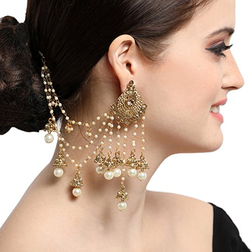 The Luxor Gold Plated White Pearls Classical Bahubali Heavy Long Chain Jhumki...