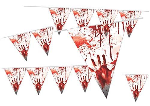 ler Wimpelkette 300 cm blutig Girlande Wimpel Girlande Wimpelkette Grusel Deko Horror Dekoration Halloween Party ()