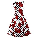 CMKEJI Damen 50s Retro Vintage Rockabilly Kleid Cocktailkleid Knielang Blumenprint Partykleid mit Gürtel(S)