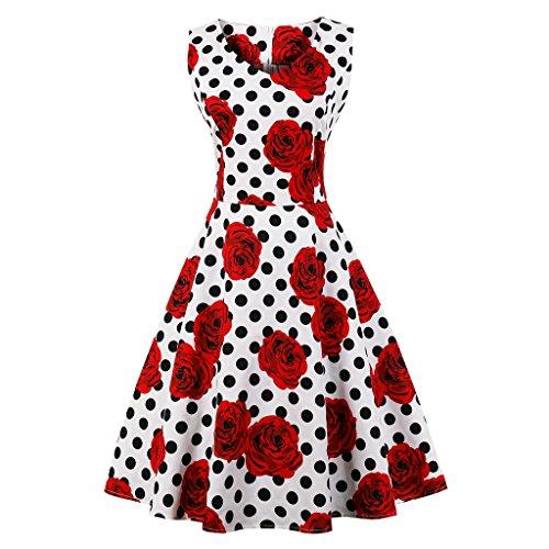 GAESHOW Mode der 1950er Jahre Polka Dot Print Vintage Print ärmelloses Retro Swing PartyKleid...