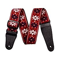 Elonglin Guitar Strap Woven embroidery Guitar Belt with Adjustable Buckle Suitable for Bass Electric/Acoustic Guitar Ukulele Red Wine