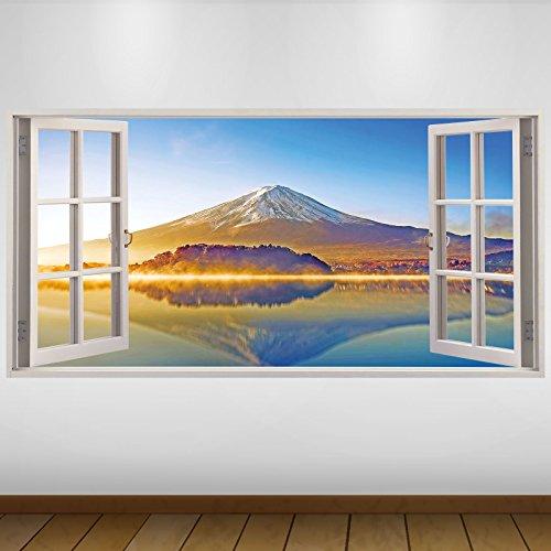LagunaProject Extra Grande El Monte Fuji de Japón Azul Naturaleza Vinilo 3D Póster - Mural Decoración - Etiqueta de la Pared -140cm x 70cm