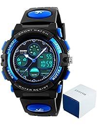 eyotto Kinder Sport Uhren 50m Wasserdicht, Mädchen Jungen Multifunktions-Analog Digital Armbanduhr mit LED Alarm Stoppuhr