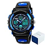 eYotto Kinder Sport Uhren 50m Wasserdicht, Mädchen Jungen Multifunktions-Analog Digital Armbanduhr mit LED Alarm Stoppuhr, Kinder, blau