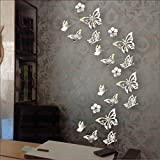 #5: LOOK DECOR Butterfly Silver (pack of 20) Code 2 Acrylic Sticker, 3D Acrylic Sticker, 3D Mirror, 3D Acrylic Wall sticker, 3D Acrylic stickers for wall, 3D Acrylic Mirror stickers for living room, bedroom, kids room, 3D Acrylic mural for home & offices decor
