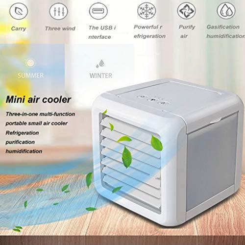 3in1 Mini Air cooler,Air conditioner Fan,tragbarer Klimaanlage,Luftbefeuchter,mobile Klimaanlage,6-8 Stunden,360 ° Abgabe von kalter Luft,3 Leistungsstufen,Leise Conditioner fan,Lufterfrischer (White)