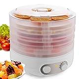 Coorun Dörrautomat 35 bis 70Grad Temperatur- und Höheverstellbar Obst Gemüse Fleisch Dörrgerät 500Watt geräuschlos BPA-frei Weiß