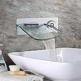 Heißer und kalter Mischhahn des einzelnen Handgriffs an der Wand befestigter Wasserfall-Glasauslauf-Chrom-Messingbadezimmer-Hahn
