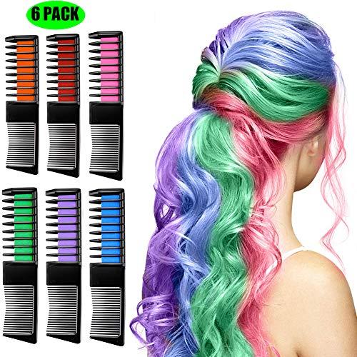Haarkreide für Kinder - Linlook 6 Stück Haarfarbe Kamm, Temporär Haarfarbe Kreide Kamm für Mädchen Haarfärbemittel, Karneval Party und Cosplay