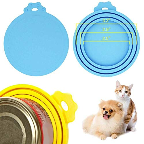 ELECTROPRIME 4 Pack Pet Food Can Covers Universal Silicone Can Lids - One Size Fit 3 Sta H1R4