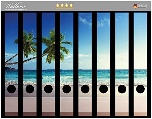 Wallario Ordnerrücken Sticker Sandstrand auf den Seychellen - Urlaub unter Palmen in Premiumqualität - Größe 8 x 3,5 x 30 cm, passend für 8 Schmale Ordnerrücken