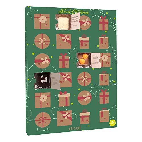 chocri 'Veganer Adventskalender' mit 24 veganen Mini-Schokoladen-Tafeln ohne tierischen Produkten mit winterlichen Zutaten wie Goji Beeren und Ingwer - perfektes Geschenk für Frauen, die vegan sind