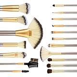 AMASAVA Cepillos de maquillaje 18 piezas con caja de cuero con lujo Cepillo de maquillaje profesional Fibras sintéticas suaves de gama alta con esponja de maquillaje y limpiador de pinceles --- Cenizas de plata doradas