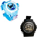 Shanti Enterprises Combo Frozen Princess 24 Images Projector Watch And Sports Watch Multi Color Dial For Kids - B07573H2GJ