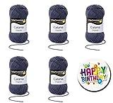 5er Set CATANIA 0393 GRAPHIT SCHACHENMAYR Qualität Wählen Sie Ihre Traumfarben aus der Farbkarte 2 - 5 x 50g Knäuel, Lauflänge ca. 125m / 50g Knäuel, Nadelstärken 2,5 bis 3,5mm + Button Happy Birthday