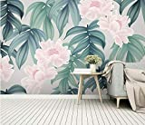 (250X200CM), Alte Zeitung 3D tapete - Nordic kleine frische tropische Regenwald Bananenblatt Garten Wandbild - Wallpaper Poster Wanddekoration von Bestwind