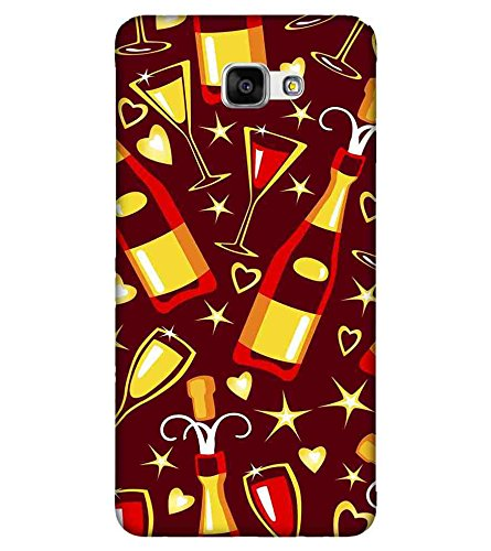 For Samsung Galaxy A9 Pro wine pattern ( wine, wisky, glass, star, heart ) Printed Designer Back Case Cover By Living Fill  available at amazon for Rs.445