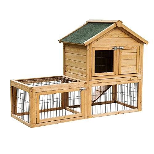 Pawhut conigliera da giardino con zona riposo e zona gioco, legno, 130 x 52 x 98.5 cm