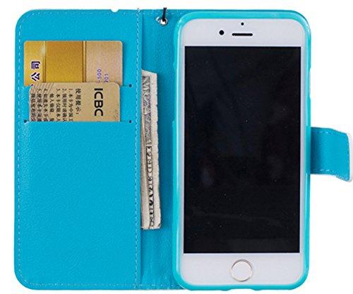 EUWLY Case Cover per iPhone 7 Plus (5.5),Ultra Slim Sottile Custodia Protettiva Portafoglio pelle PU Case Lusso Flip Stand Slot Funzione di Supporto Leather Wallet Case per iPhone 7 Plus (5.5)-Gatti Dreamcatcher