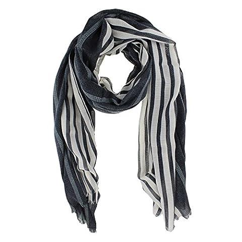 Herren Halstuch gestreift | Schal mit Streifen in blau grau weiß schwarz, Schwarz-Weiss