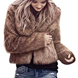 Hirolan Fake Fur Mantel Damen Winter Warm Mantel Lange Hülse Oberbekleidung Mode Weste Jacke Damen Luxus ParkaTop Kleidung Wintermantel Parka Coat mit Pelzkapuze Schwarz Braun Weiß (M, Braun)