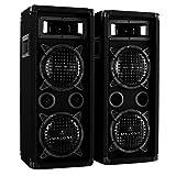 Malone PW-65X22 - due altoparlanti PA, box passivo a 3 vie, max. potenza 2 x 600 watt, woofer da 2 x 16 cm (6,5'), andamento di frequenza: da 80 Hz a 18 kHz, Maniglie di trasporto, nero