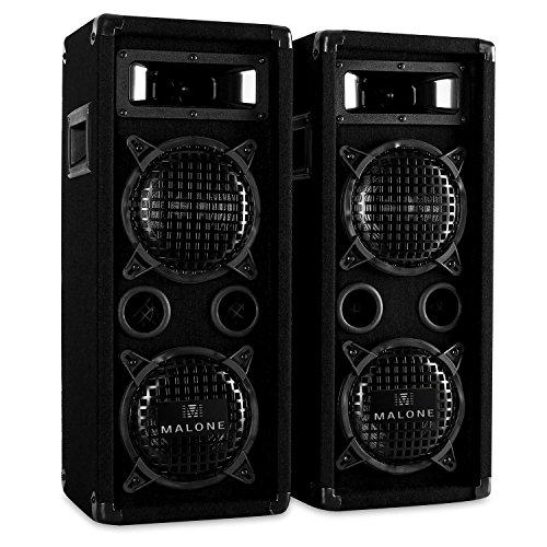 """Malone PW-65X22 • PA Lautsprecher Paar • 3-Wege-Boxen • passive Fullrange Boxen • 2 x 600 Watt max. Leistung • 2 x 16 cm (6,5"""")-Tieftöner • Horn-Mitteltöner • 2 x Piezo-Hochtöner • Frequenzgang: 80 Hz bis 18 kHz • Bassreflex-Gehäuse • Tragegriffe • schwarz"""