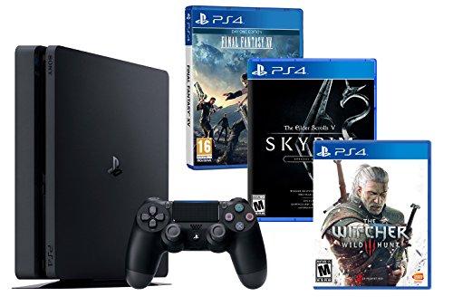 PS4 Slim 1To Noir Playstation 4 RPG Pack 3 Jeux! The Witcher 3 + Final Fantasy XV + The Elder Scrolls V: Skyrim Special Edition