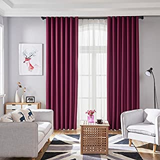 Artistic9 270 * 100CM Blackout Window Curtain, Room Darkening Window Treatment Sheer Curtain for Bedroom Living Room Kitchen 1PC (Red)