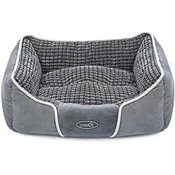 Pecute Cama para Mascotas Básica Cama de Suave Gamuza para Perros y Gatos de Color Gris (pequeña: 50*43*18cm)