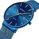Souarts Herren Armbanduhr Einfach Mesh Metallarmband Casual Analoge Quarz Wasserdicht Datum Kalender Uhr Blau