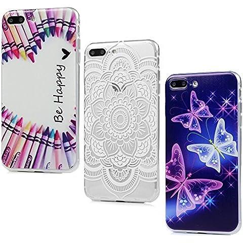 iPhone 7 Plus Custodia Cover - Lanveni 3pcs Copertura Morbido TPU Silicone Ultra Sottile per iPhone 7 Plus 5.5 pollici Dipinto Protective Case - Modello Totem Fiore + Matita di Colore + Farfalla