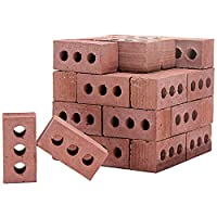 UKtrade New Kids Art Craft Mini Cement Bricks Toy 56Pcs Build Your Own Tiny House Mini Red Bricks Contruction Hand Craft Accessory Brick