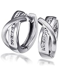 Goldmaid Women's 925 Sterling Silver Earrings with 14 white Zirconia