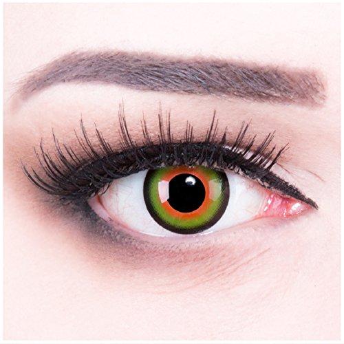 (Funnylens 1 Paar farbige Crazy Fun Tea Time rot grün schwarz Jahres Kontaktlinsen. perfekt zu Halloween, Karneval, Fasching oder Fasnacht mit gratis Kontaktlinsenbehälter ohne Stärke!)