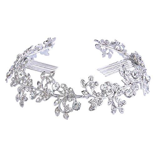 Clearine Women's Clear Crystal Flower Leaf Vine Wedding Bridal Hair Accessory Headband