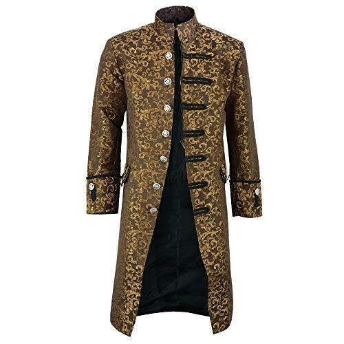 SALEBLOUSE Herren Jacke Frack Steampunk Gothic Gehrock Uniform Cosplay Kostüm Mantel Retro Viktorianischen Langer Uniformkleid Plus Size Männer Langarm Herren Gothic Gehrock Uniform Party Outwear