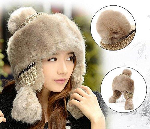 Winter Trapper Hat Women Russian Style Pompom