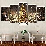 Zxwd Poster Wohnzimmer Dekoration Wand Kunstwerk 5 Panel Weihnachtsbaum Moderne Malerei Auf Leinwand Home Bilder Hd Gedruckt