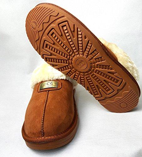 Pantofole Originali In Pelle Di Pecora Gcg, Pantofola, Suola Rigida Antiscivolo, Grigio, 6 Cammelli