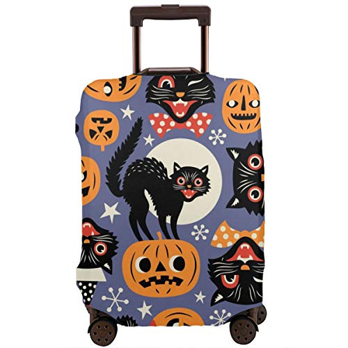 ector,Vintage Spooky Cats and Halloween Pumpkins Seamless Vector Pattern On Purple Background,Suitcase Cover Washable Luggage Cover L ()
