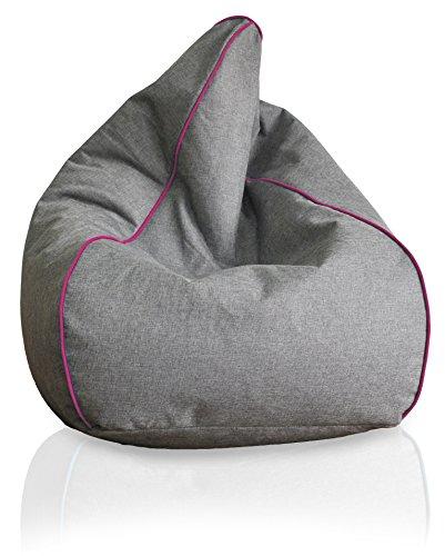 Kinzler S-10123/127 luxuriöser Sitzsack in Leinenoptik, ca. Ø60 x H100 cm, anthrazit mit Piping, magenta