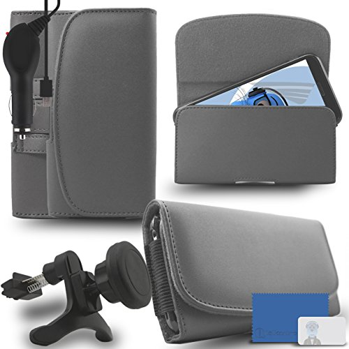 iTALKonline Samsung Galaxy A5 SM-A500G/DS Grey PREMIUM PU Leather horizontal Executive Side Pouch Case Cover Holster with Belt Loop Clip and Magnetic Closure and 1000 mAh Coiled In Car Charger LED Indicator and Overload Protection with Heavy Duty Car Holder  available at amazon for Rs.660