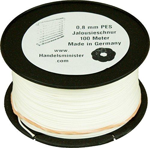 Jalousieschnur Plisseeschnur 100m Zugschnur für Plissee Raffrollo Jalousie Ersatzschnur, Farbe:weiß, Durchmesser:0.8mm