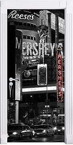 célèbre Hershey à New York en noir / blanc Mural, Format: 200x90cm, cadre de porte, porte autocollants, décoration de porte, porte autocollants