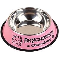 Dosige 1pcs Comedero para perro Perro Gato Tazón Perro Comedero Tazón de viaje con anillo de goma, diámetro 22cm, altura 5,5cm (Rosa)
