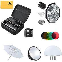 Godox AD200 200Ws 2.4G TTL Flash Strobe 1/8000 HSS Sin Cable Monolight + + X1T-C Transmisor+AD-S7 Softbox +AD-S2 Reflector Estándar+AD-S11 Filtro +AD-S17 +AD-S5 Reflector Paraguas+ LETWING Paño(AD200kit2)