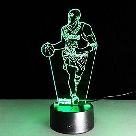 Nola Sang Lampe d'illusion LED 3D, 7 couleurs Change la télécommande Kobe Bryant Dimensionnel lumière visuelle, lumière nocturne optique, Décoration Lampes de table d'ambiance, Cadeaux de Noël pour enfants