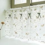 Amerikanisches Land Art gestickten Gaze Vorhang Bistrogardine Küchengardine Scheibengardine, BxH 140x100cm, Khaki