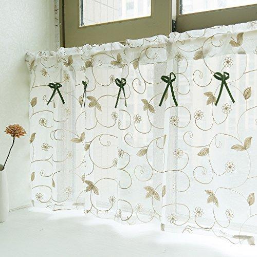 Yujiao Mao Amerikanisches Land Art gestickten Gaze Vorhang Bistrogardine Küchengardine Scheibengardine, BxH 140x60cm, Khaki